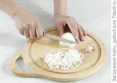 Шаг 1. Мелко режем лук и чеснок