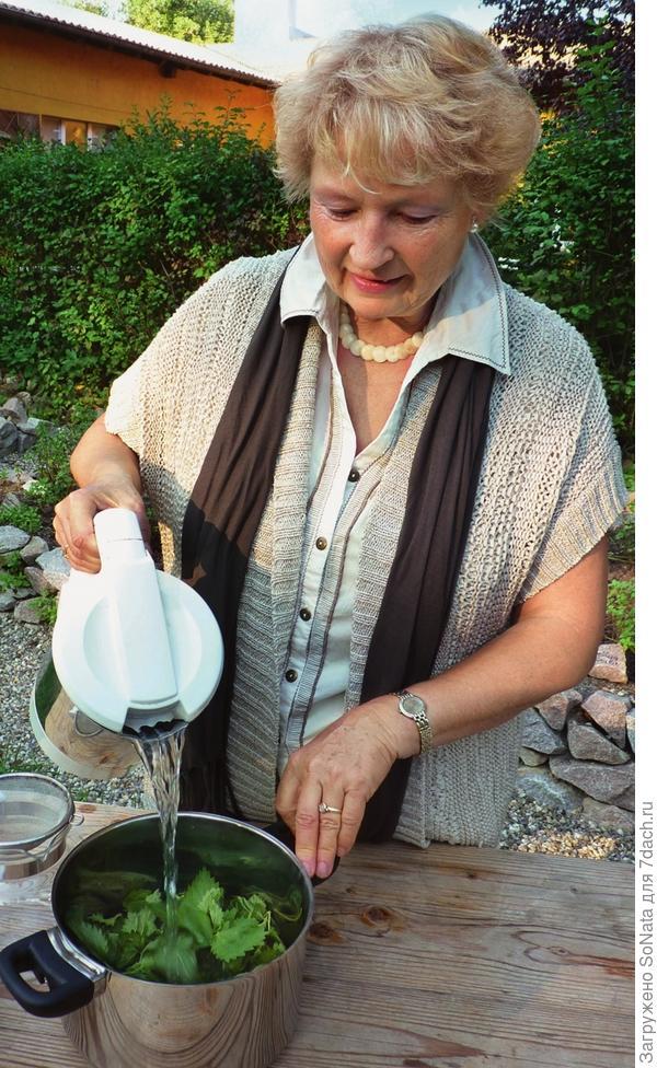 Крапиву промойте и обсушите, положите в кастрюлю и залейте кипящей водой.