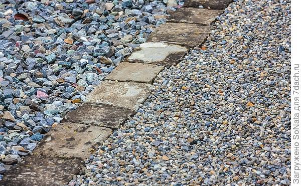 Прочная и долговечная окантовка получится из выложенной в ряд брусчатки, установленной на подушку из цементно-песчаного раствора