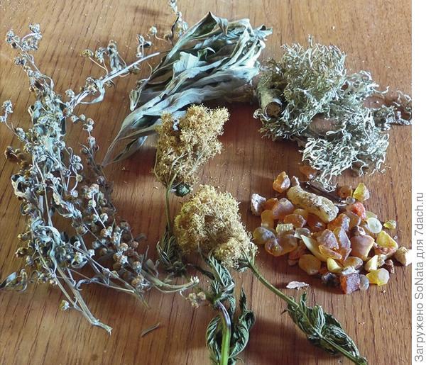 Состав смеси для окуривания: полынь, лабазник, лишайник бородатый, твердая смола лиственных и хвойных деревьев.