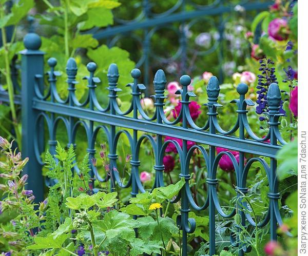 Кованый забор выглядит очень эффектно и придает палисаднику романтичный вид. Цвет и дизайн такого ограждения могут быть самыми разными, главное, чтобы элемент вписывался в общий стиль сада
