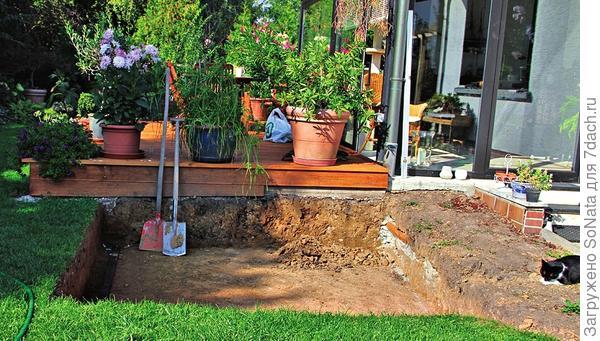Котлован для будущего водоема супруги Эльгер разметили и выкопали рядом с террасой.