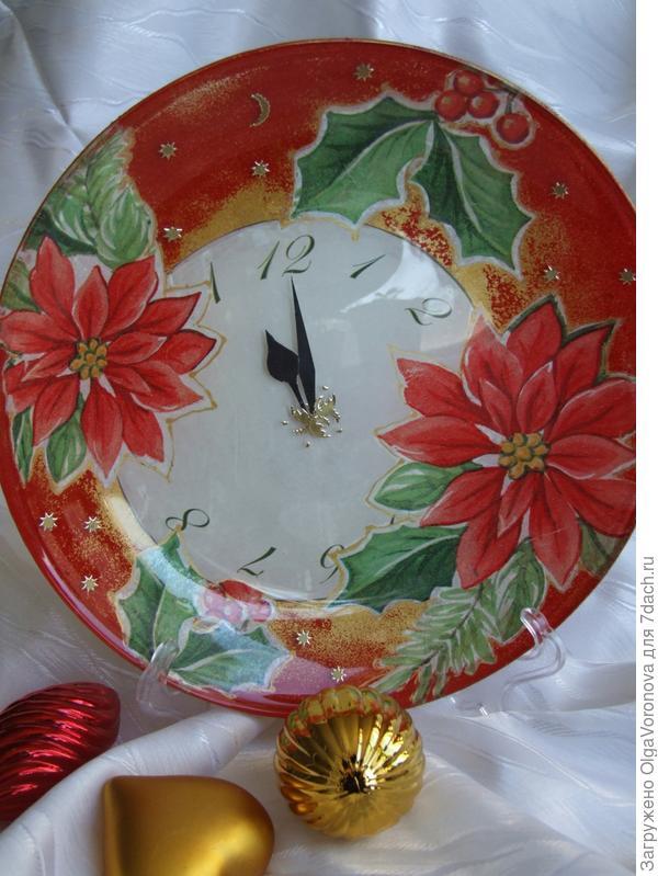 Новогодняя посуда в технике обратный декупаж