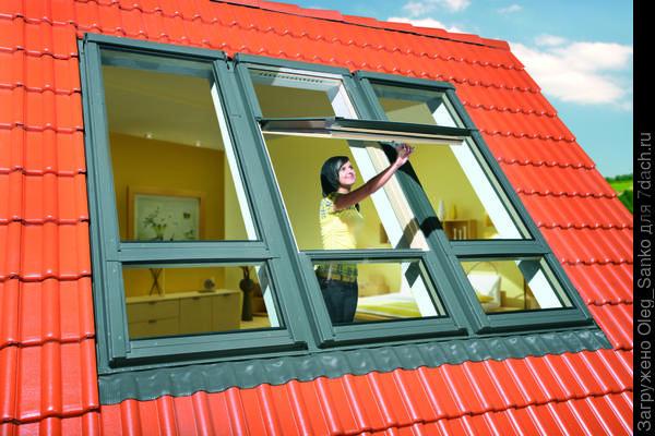 Мансардное многосекционное окно. Фото: Факро