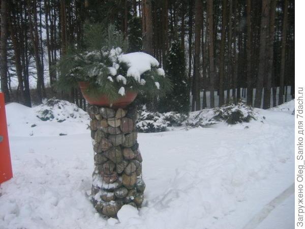 Габионы зимой