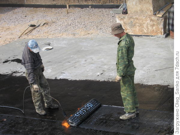 Подготовка гидроизоляционного ковра