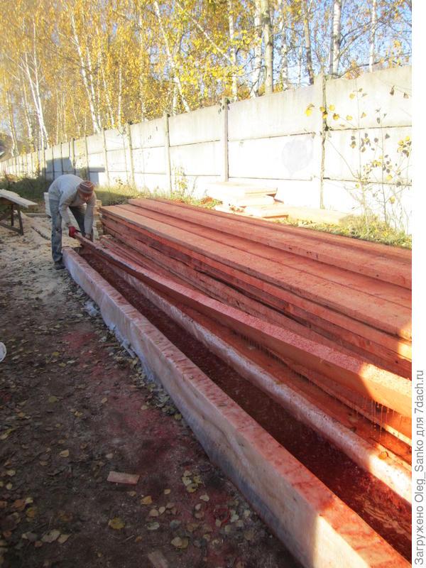 Лоток для окунания деревянных прогонов в огнестойкий состав
