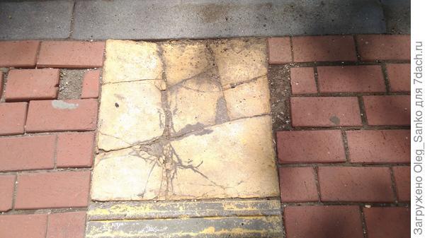 Плитка растрескалась, не выдержав погодных условий.