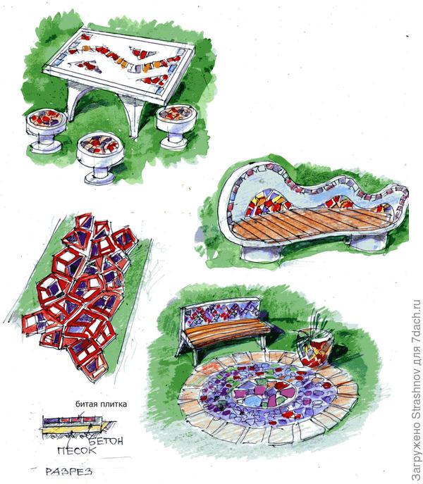 садовые элементы из плитки