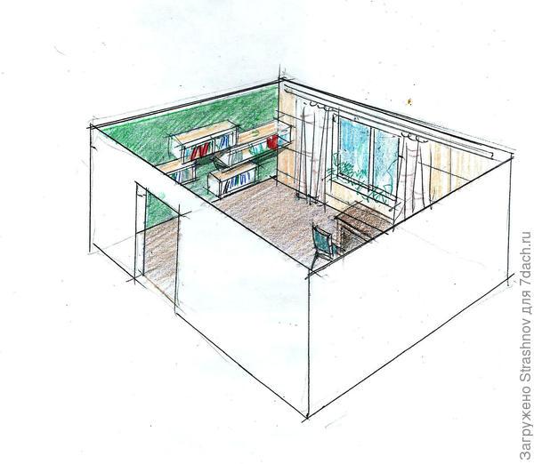 интерьер с контрастными стенами