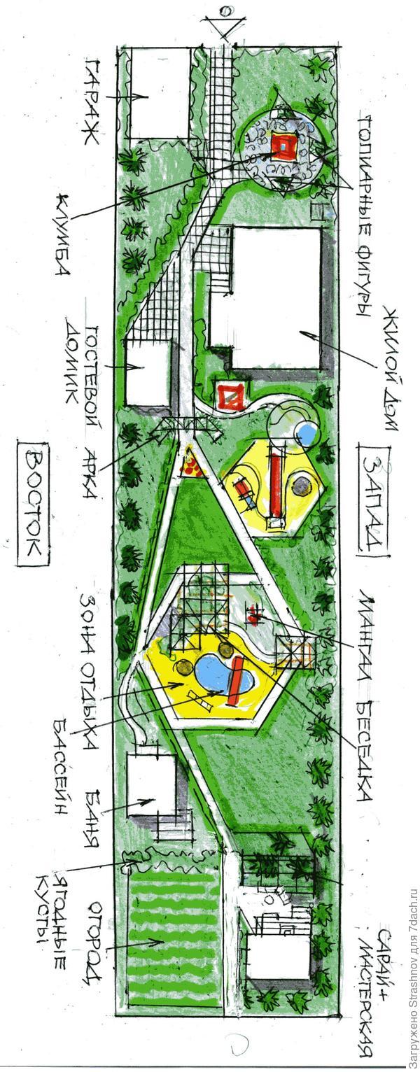эскиз планировки узкого участка
