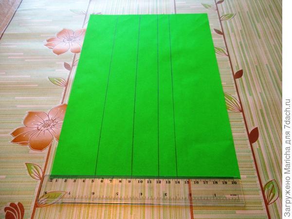 Берем лист зеленой бумаги, отмеряем с помощью линейки поочередно 5,4, 3 и 2 см и прободим линии.