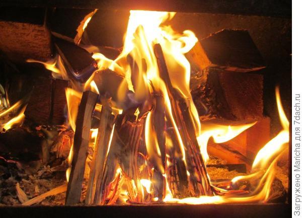 В печке горели дрова