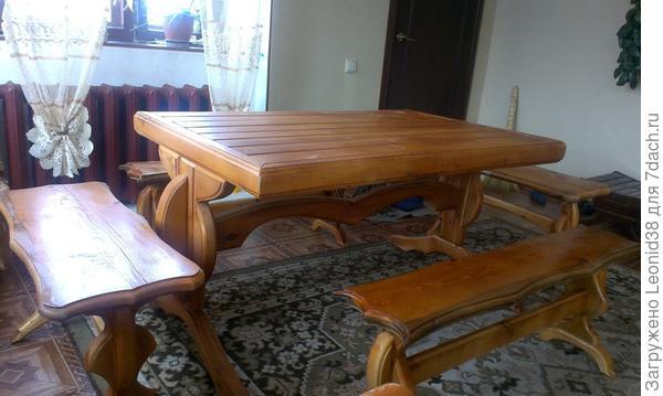 стол с лавочками в дом