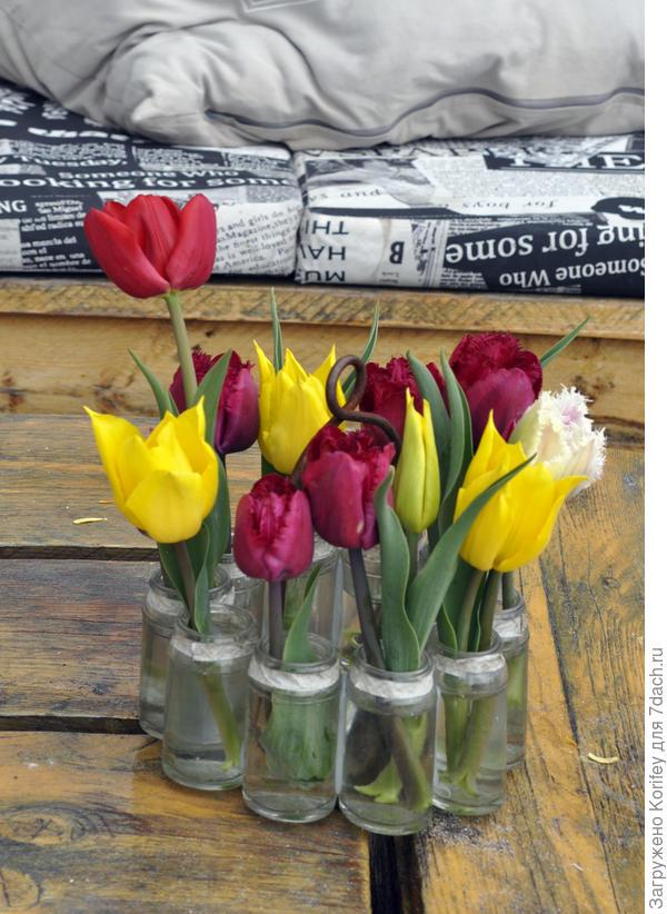 Эту простейшую композицию из нескольких баночек и множества срезанных тюльпанов подсмотрел в одной кафешке. Абсолютно ничего особенного - простейшие баночки, простейшие тюльпаны, а все вместе смотрится очень стильно. Даже на обычных струганых досках.