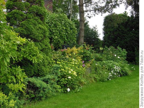 А вот и один из уголков его красивого сада