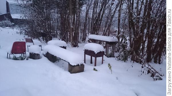 Занесенный снегом наш уголок для шашлыков
