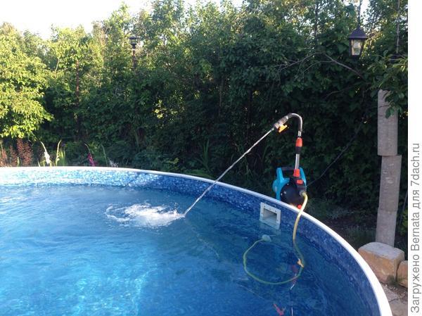 Поломался фильтр на бассейне..., на солнце уже под +40.., пока починим или заменим, вода зацветет...
