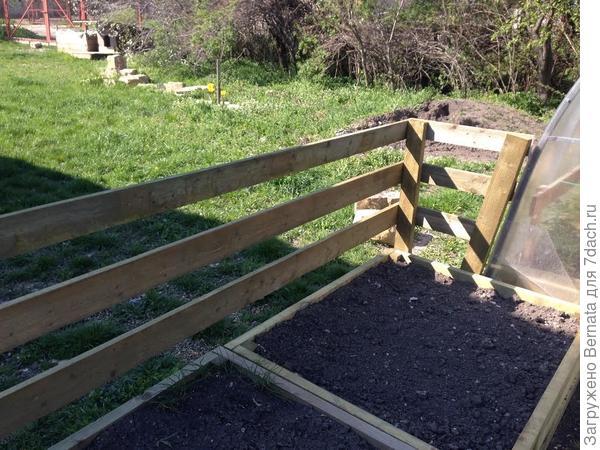 Забор крепится к грядкам