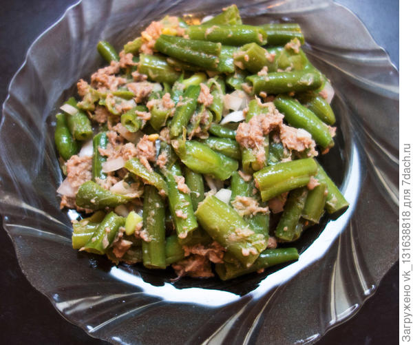 """Салат """"Фитнесс"""" с зеленой фасолью и тунцом."""