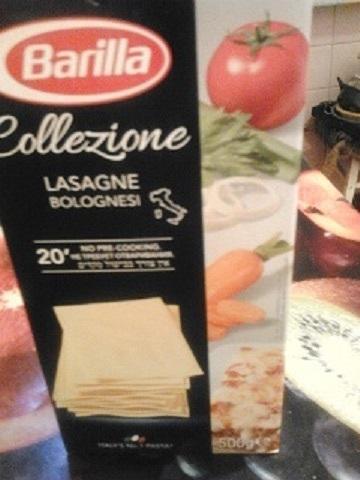 Так выглядит коробка с готовым макаронным тестом для лазаньи.
