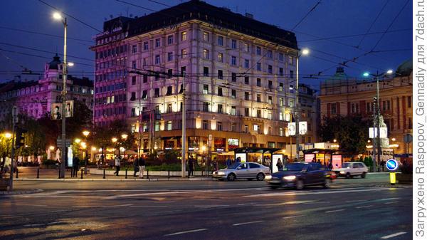 Центр Белграда ночью