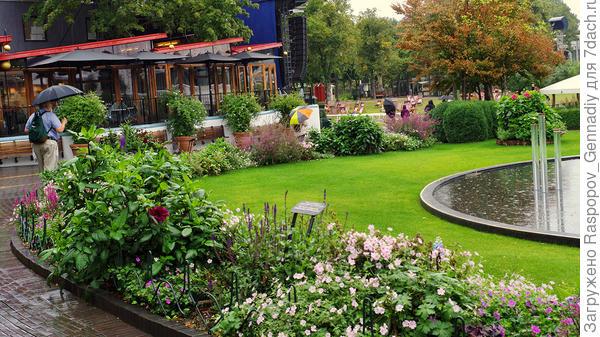 Цветы, лужайка и фонтан