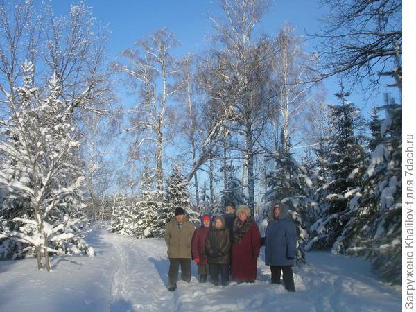 Пенсионеры на прогулке в зимнем лесу.