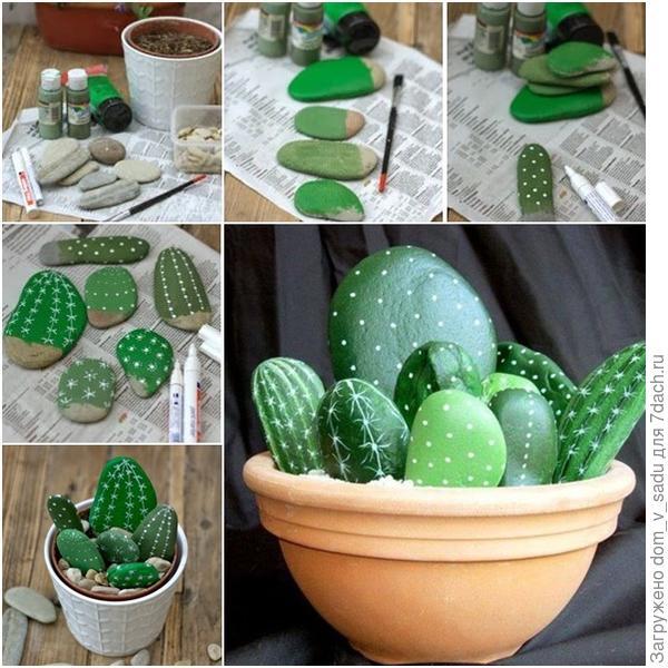 Горшок с кактусами из камней