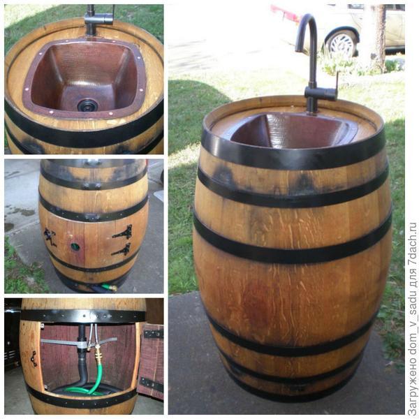 Тумба для умывальника из бочки. Источник: instructables.com