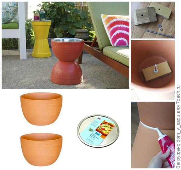 Столик из цветочных кашпо. Источник: apartmenttherapy.com