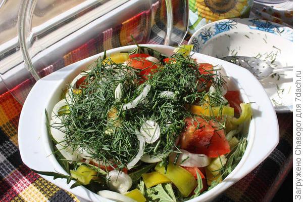 затем овощами