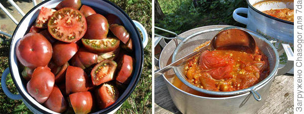 варка томатов и протирка