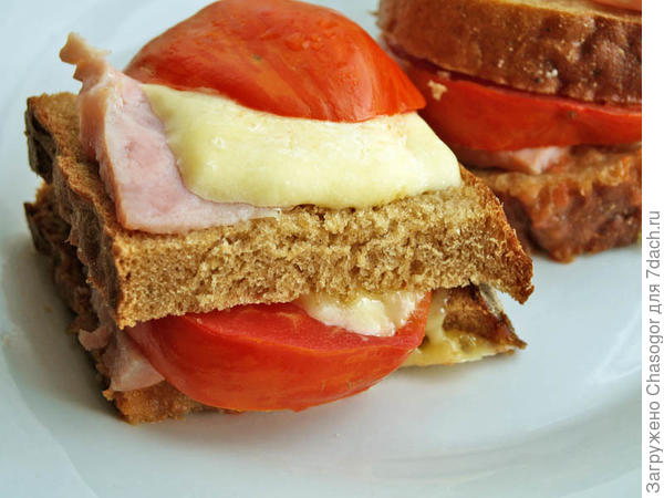 горячий бутерброд с сыром и помидором