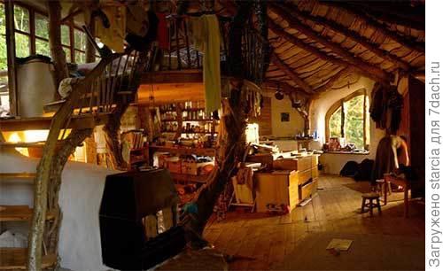 Камин обогревает дом и располагается под лестницей. Фото с сайта interesko.info