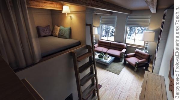 Зона отдыха на лежанке русской печи в гостиной. Фото с сайта m.io.ua
