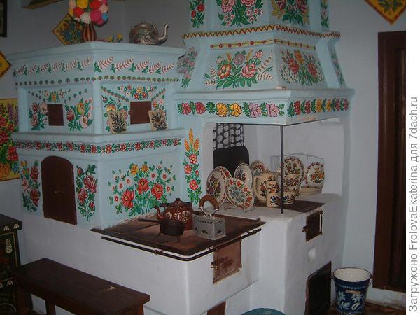 Декорированная посудой печь. Фото с сайта ideidetsploshad.info