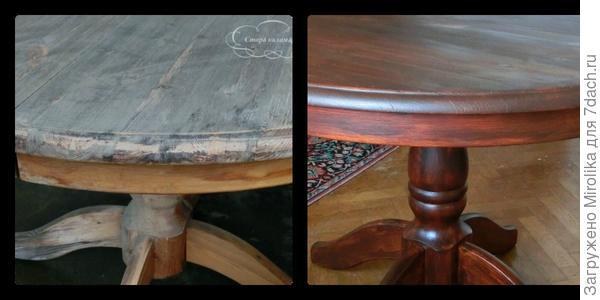 Преображение старого стола: шкурка, морилка и лак. И где вы видите старый стол?