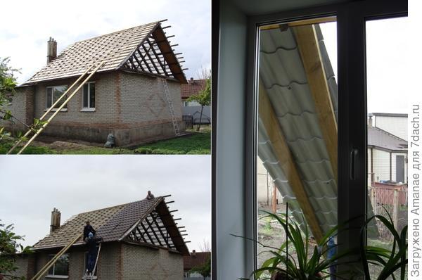 По настилу из 2х досок поднимали 5,5 метровые листы на крышу