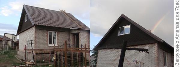 После разбора лесов прошёл дождик и радуга широким коромыслом зависла над домом!