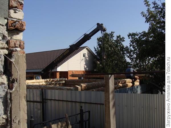 Соседи делают бревенчатую баню