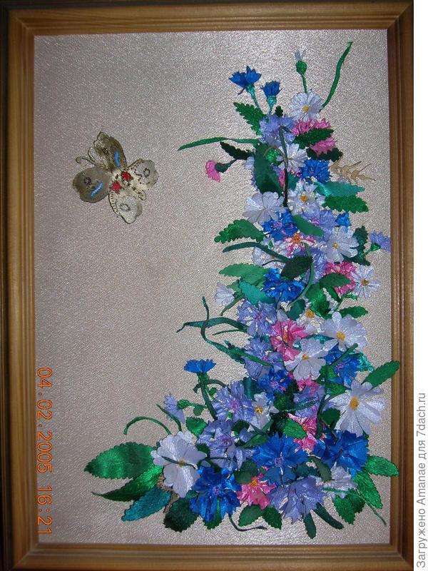 Картина для бабушки, выполненная с помощью выжигания по ткани