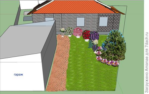 Проект дома и проект клумбы на ближайшие 2 года, пока нет возможности запланировать многолетники.