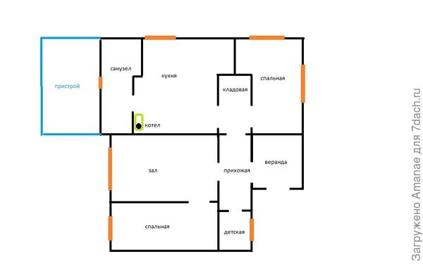 Рисунок 1. Дом (чёрным), пристрой (голубым), окна - розовые, на пристрое можно сделать в любом месте, так как стены ещё не поставили.