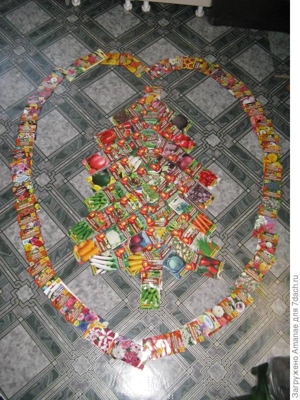 Ёлочко-сердечко из подарочных семян