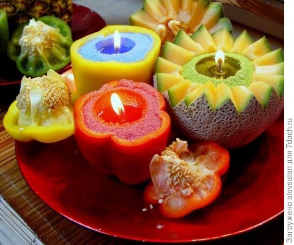 свечи из овощей и фрктов