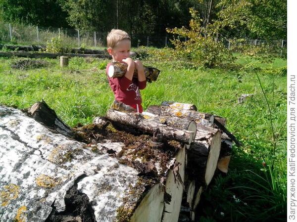 складывает дрова