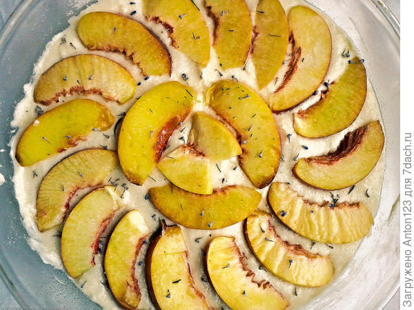 пирог, персики, лаванда, тесто