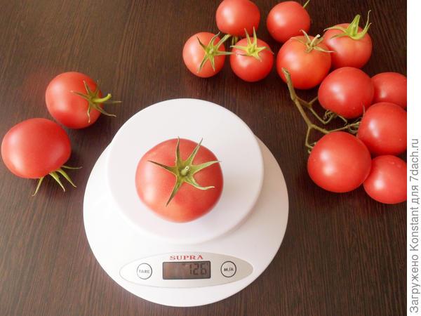 Полностью созревший средний плод томата Грифон весом 126 граммов.
