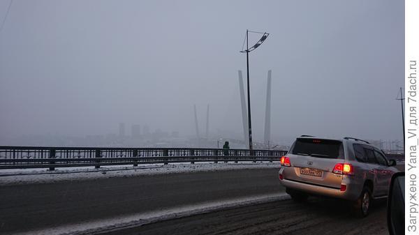 Золотой мост в пелене снега почти не виден